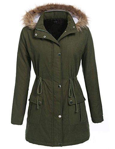 Women Winter Fleece Coat Hooded Faux Fur Trench Coat Jacket Parka - 5