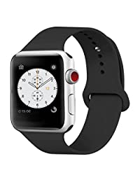 iDon Smart Watch Sport Band, Soft Silicone Replacement Sports Band for iWatch Apple Watch Band Series 1 Series 2, 42mm Apple Watch 2015 & 2016 All Models (M/L, Black)