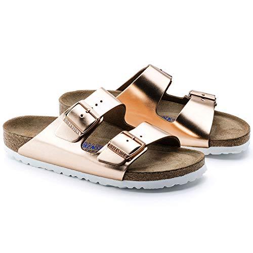 (Birkenstock Arizona Metallic Copper Womens Leather Sandals Shoes)