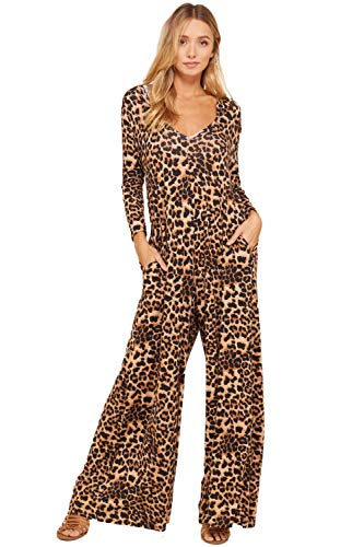 Annabelle Women's Cheetah Knit Print Loose Bulky Oversized Pocketed Hooded Jumpsuit Leopard XX-Large -