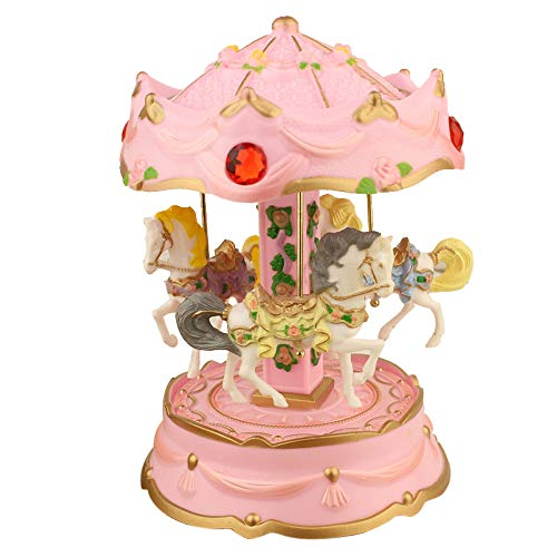 Carousel Music Box LED Light Merry-Go-Round Music Box Birthday Holiday Gift Music Box Best Gift Table Decor - Shipped from USA!! (Pink)