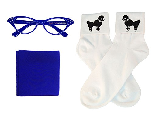 50s Costume Accessory Set Chiffon Scarf, Cat Eye Glasses and Bobby Socks for Women, Royal Blue (Fifties Cat Eye Rhinestone Glasses)