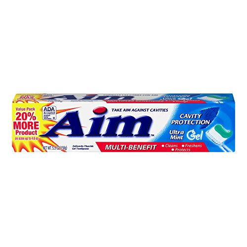Aim Cavity Protection Toothpaste Ultra Mint Gel, 5.5 Ounce, Pack of 4 ()