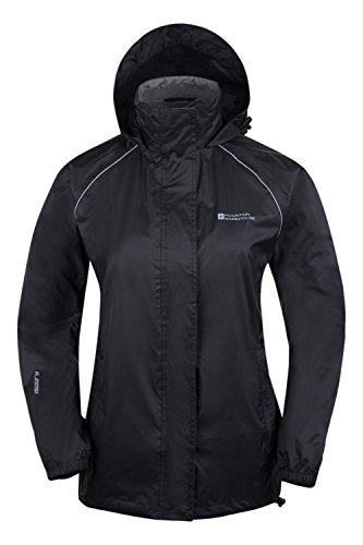 Mountain Warehouse Pakka Frauen Regenjacke Wasserdicht Regen Jacke Faltbar Mit Verschweißte Nähte Schwarz DE 42 (EU 44)