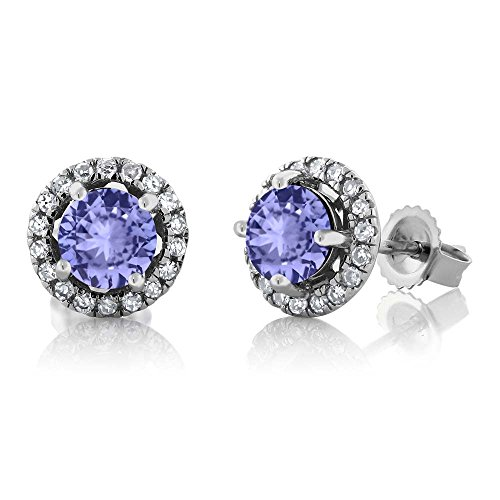 14K White Gold Diamond Halo Earrings set with 1.10 CTTW Round Blue Tanzanite (White Earrings Diamond Tanzanite Gold)