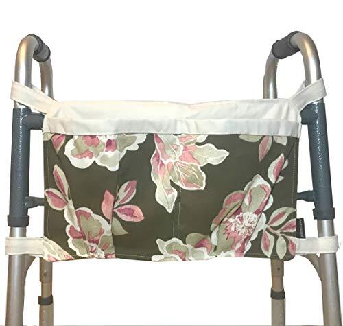 (Walker Bag, Brown Floral Print with Ecru Trim | Senior Walker Accessory | Carrier Pouch for Senior Walker)