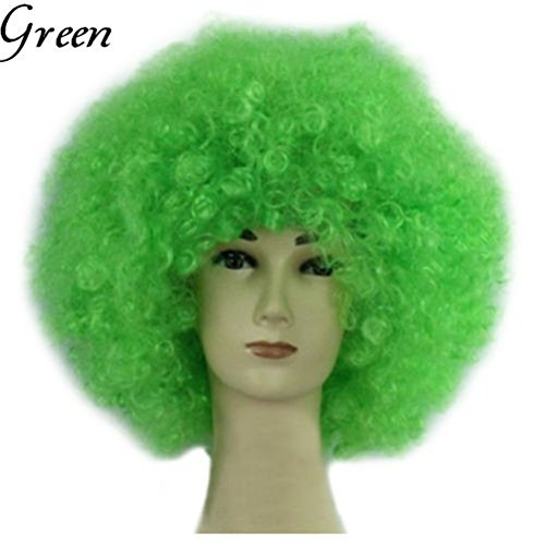 Light Up Long Adult Wig (JOY DRAGON Afro Wigs ,Halloween,Christmas,Carnival,cheerleaders,Costume Party Wigs Curly Clown Disco Circus Costume Adult Children Dress Up(16 colours) (green))