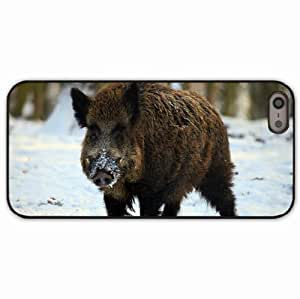 iPhone 5 5S Black Hardshell Case boar tusks winter snow forest Desin Images Protector Back Cover