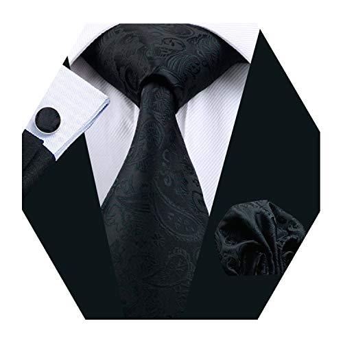 YOHOWA Men Stripe Tie Pocket Square Business Silk Necktie Cufflinks Set (Black Paisley)