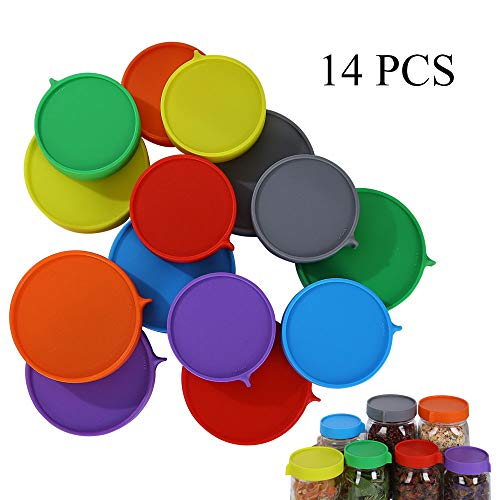 Elwiya Leak Proof Plastic Mason Jar Lids for Wide Mouth & Regular Mouth - Reusable Plastic Storage Caps/Tops for Ball Jar Lids, Pack of 14 ()