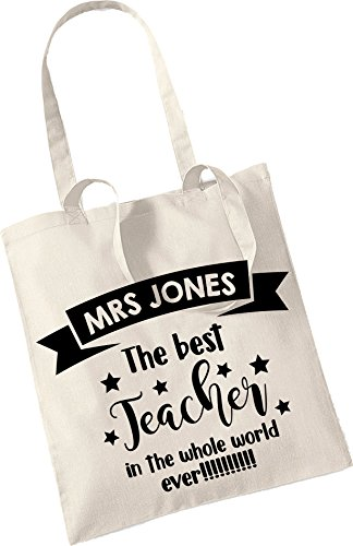 Beige Stickers World Teacher Best Whole The Bag in Ever Personalised Little Tote Pretty 6wUq77
