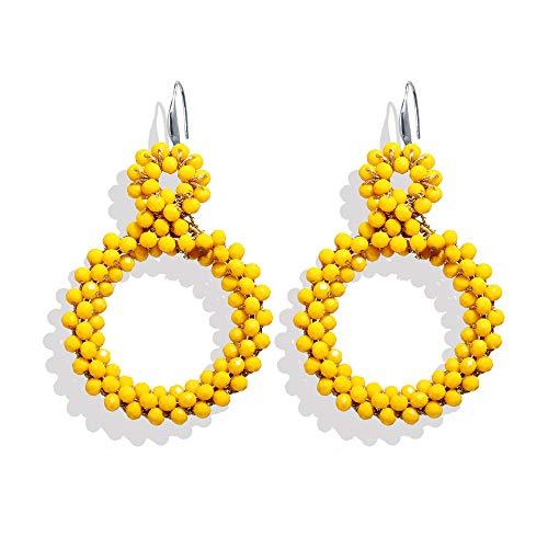 Round Yellow Bead Dangle Earrings For Women - Boho Beads Drop Earring Girls Statement Jewelry - Drop Bead Plastic