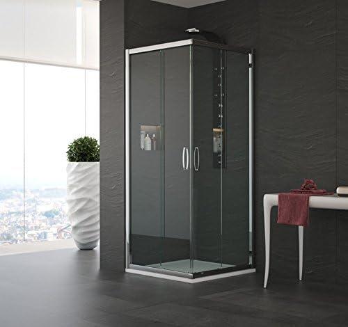 Mampara de ducha en ángulo modelo Alessandra-plata pulido-190-78 x 78 cm-compribene mate: Amazon.es: Bricolaje y herramientas