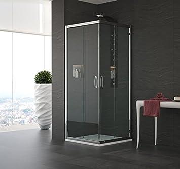 Mampara de ducha en ángulo modelo Alessandra-plata pulido-190-78 x ...