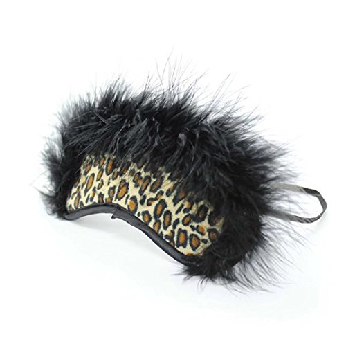Briviee Leopard Feather Flush Blindfold Mask Eye Mask for Halloween Stage Props Kit for]()