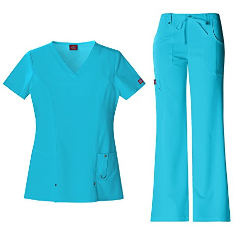 Gorgeous Eyelet (Dickies Xtreme Stretch Women's 82851 V-Neck Top & 82011 Drawstring Pant Medical Uniform Scrub Set (Icy Turquoise - X-Large))
