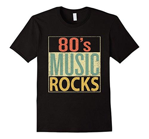 (Mens 80s Music Rocks Shirt. Vintage 80s Style Retro Colors TShirt Medium Black)