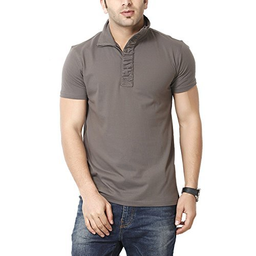 Gritstones Men's Half-Zip Cotton T-Shirt