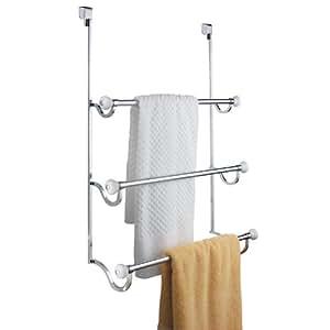 InterDesign York Over the Shower Door Towel Rack for Bathroom - Chrome/White