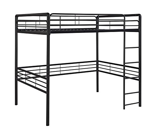 dhp full metal loft bed with ladder space saving design. Black Bedroom Furniture Sets. Home Design Ideas