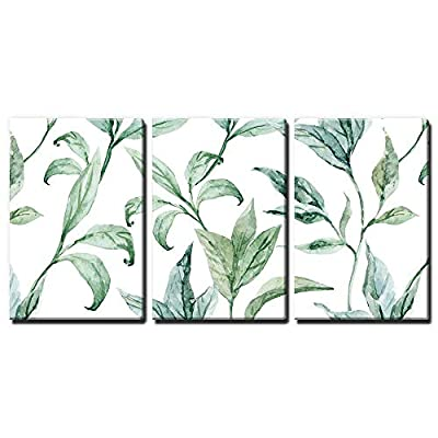 Beautiful Creative Design, it is good, 3 Panel Watercolor Style Green Leaves on White Background x 3 Panels