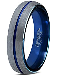 Tungsten Wedding Band Ring 4mm for Men Women Blue Silver Domed Brushed Lifetime Guarantee