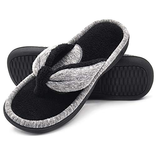 Wishcotton Women's Adjustable Memory Foam Spa Thong House Shoes Fluffy Flip Flop Slippers (M, Grey)