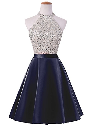 ed Keyhole Back Homecoming Dresses Beaded Prom Gowns Short H198 12 Navy ()