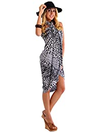 1 World Sarongs Womens Feline Print Swimsuit Cover-Up Sarong in Black/White