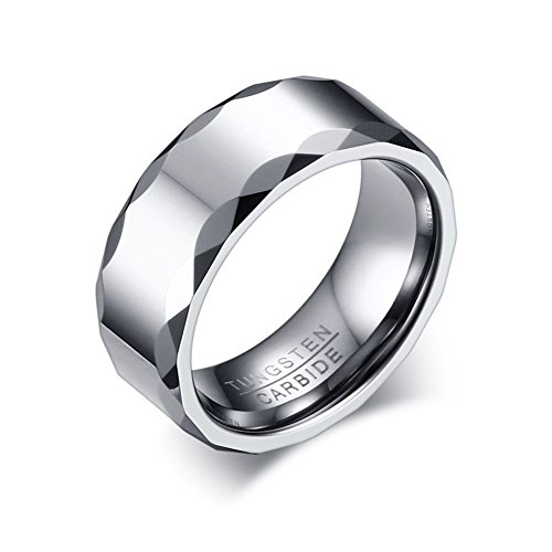 JAJAFOOK Tungsten Carbide Rings for Men,8MM Vintage Rhompus Edge Smooth Flat High Polished,Comfort - Rings Tuscan Wedding