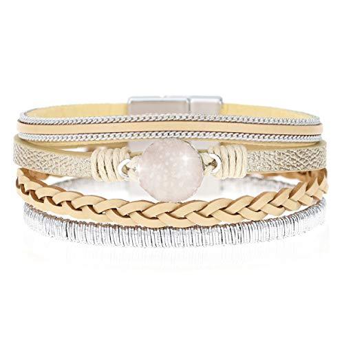 EGOO YAMEE Wrap Boho Multilayer Bracelet - Leather Cuff Wrist Handmade Braided Bracelets with Magnetic Buckle Casual Bangle Jewelry for Women, Teen Girl, Boy Gift(Beige)