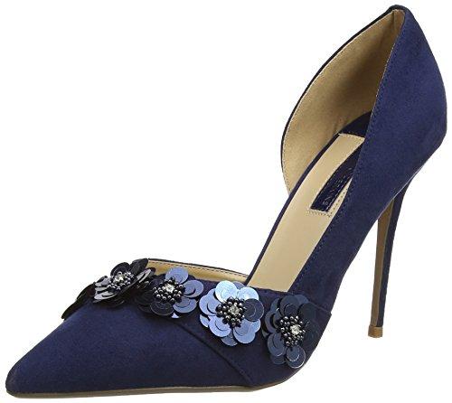 Dorothy Perkins Navy Ginna Flower Court - Tacones Mujer Azul (Navy Blue)