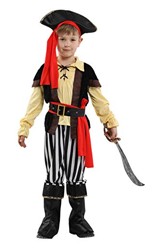 stylesilove Kid Boys Halloween Costume Cosplay Outfit Themed Birthdays Party (Impish Pirate Prince, M/4-6 Years) -