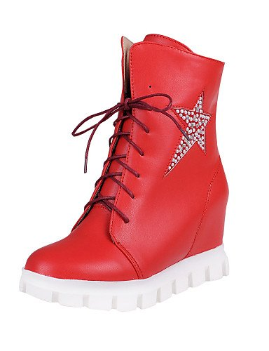 Cn34 Tacón Cn37 Red Oficina us6 7 Uk3 Uk4 Vestido Mujer Casual Redonda Cerrada Bajo Eu35 Eu37 5 Trabajo De Zapatos Punta Y 5 Rojo Xzz us5 negro Semicuero Botas 5 White qTtzwx4AU