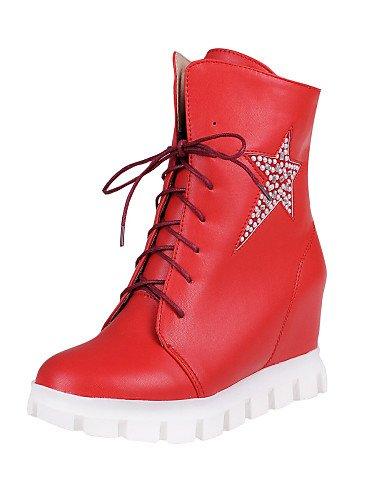 Rojo 5 us6 Bajo Cn36 Uk4 Oficina De 7 Eu37 Red 5 Mujer us6 5 Cn37 Semicuero negro Uk4 Zapatos White Cerrada Casual Vestido Punta Botas Eu36 Tacón Trabajo Xzz Y Redonda IxgaqwnpnA