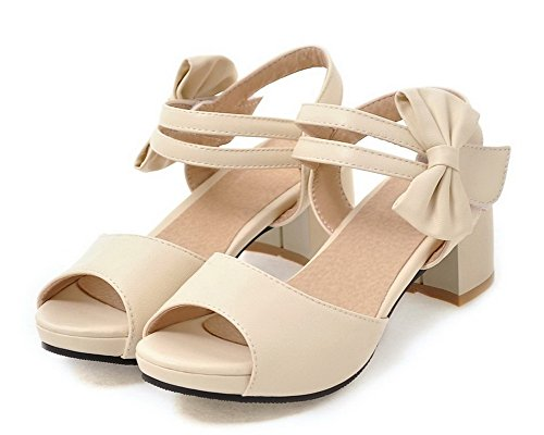Open Loop WeenFashion Kitten Women's Pu Beige CA18LB04858 and Toe Sandals Heels Hook gwCZqx0