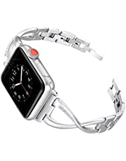 Secbolt Stainless Steel Band Compatible Apple Watch Band 38mm 40mm Women Iwatch Series 4, Series 3, Series 2 1 Accessories Metal Wristband X-Link Sport Strap