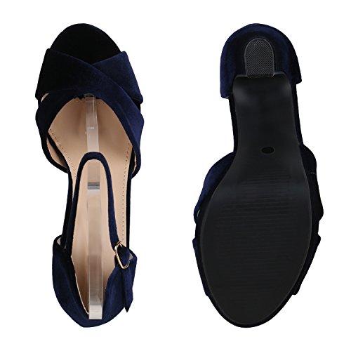 Stiefelparadies Damen Sandaletten Plateau Blockabsatz High Heels Schuhe Flandell Blau Velours