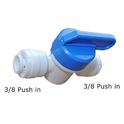 (PureSec 2018 Push to Connect 1/4-inch 3/8-inch Tube O.D.Plastic Straight Inline Shut Off Ball Valve Hand valve for RODI System (1, 3/8