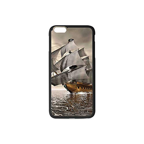 Ocean Rubber Phone Case,3D Style Pirate Ship Sea Historic Vessel Cloudy Sky Voyage Exploration Theme Compatible with iPhone 6 / 6sPlus ()