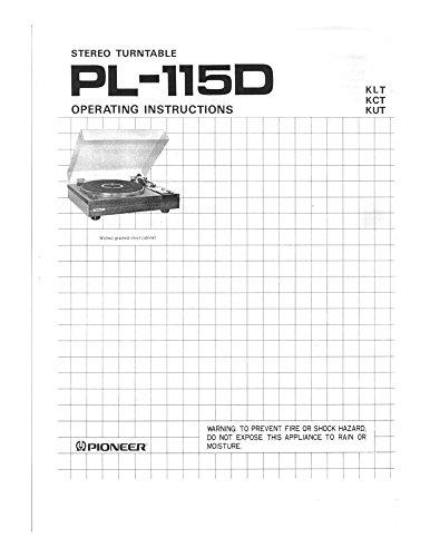 Pioneer PL-115D Turntable Owners Manual