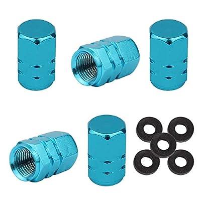 Winka 5 Pcs Aluminum Hexagon Style Wheel Tire Valve Stem Caps Sky Blue: Automotive