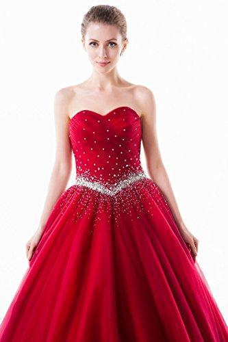 Rot Kugelhochzeitskleid Emily Beauty Schatz Plissee trägerloses Rohr Princess 0CnpxqwaCA