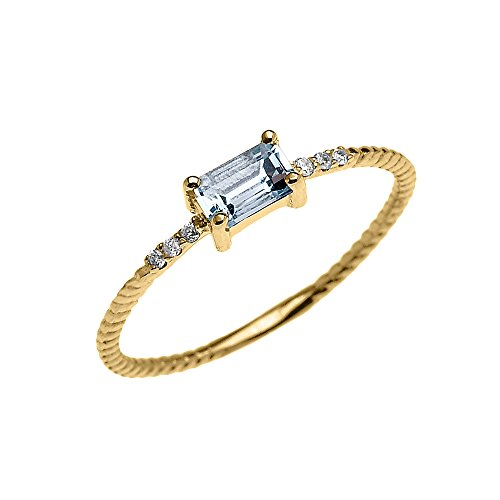 Gold Diamond Promise 14k Ring - 14k Yellow Gold Diamond and Emerald Cut Solitaire Aquamarine Dainty Promise/Engagement Ring (Size 9)