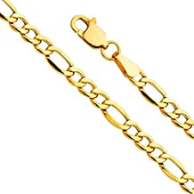 Figaro 5MM Chain necklace 5MM 24K Fashion Jewelry Diamond cut Miami Cuban Link