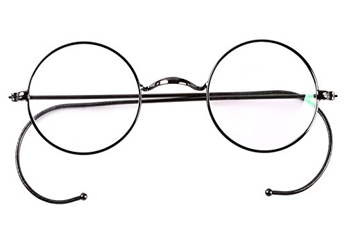 Agstum Retro Small Round Optical Rare Wire Rim Eyeglasses Frame (Gunmetal, 39mm)