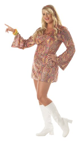 California Costumes Women's Plus-Size Disco Dolly Plus, Multi, 3X ()
