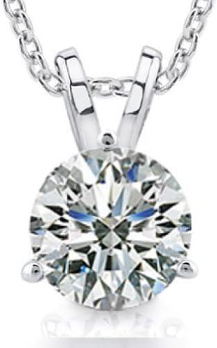 Madina Jewelry 0.44 Ct Ladies Round Cut Diamond Soitaire Pendant Necklace