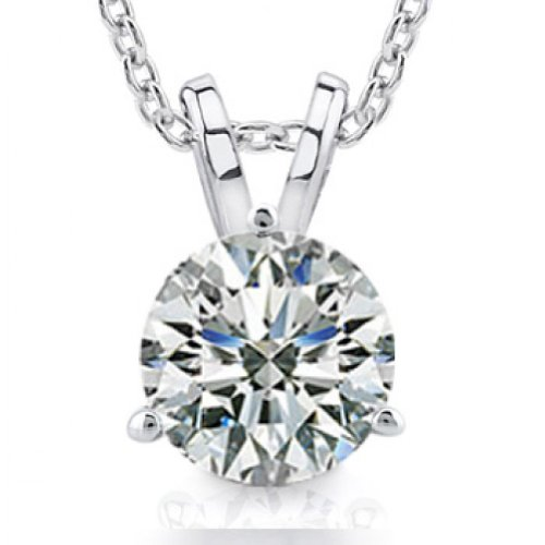 0.44 Ct Ladies Round Cut Diamond Soitaire Pendant / Necklace by Madina Jewelry