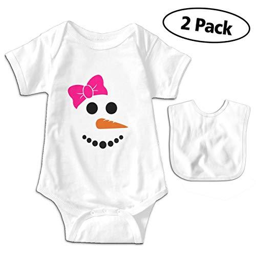 Cute Snowman Face Unisex-Baby Newborn Short-Sleeve Bodysuit Rompers0-3M White]()